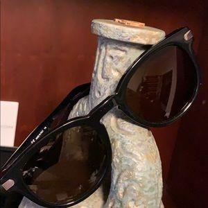 Salvatore Ferragamo Black Round Acetate Sunglasses